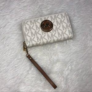Michael Kors Vanilla Zip Around Wallet Wristlet